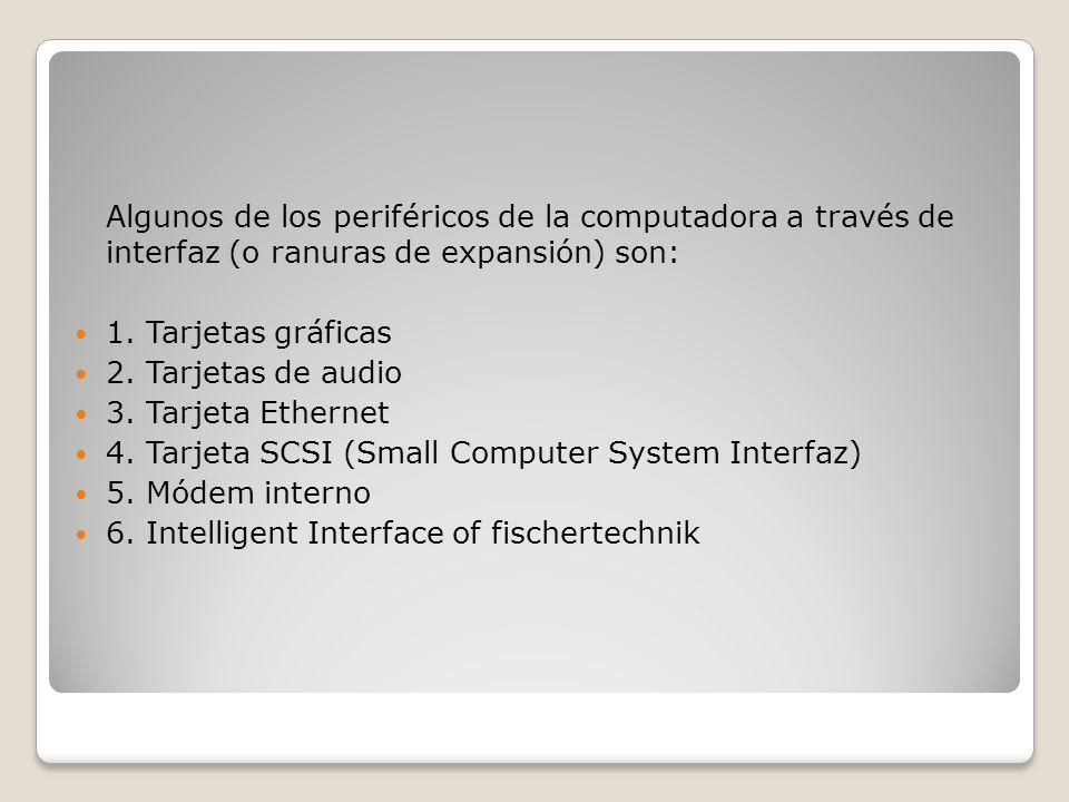Algunos de los periféricos de la computadora a través de interfaz (o ranuras de expansión) son: