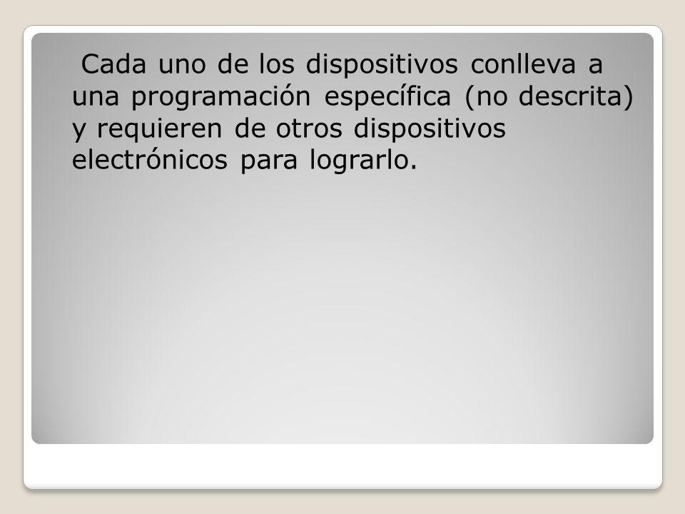Cada uno de los dispositivos conlleva a una programación específica (no descrita) y requieren de otros dispositivos electrónicos para lograrlo.
