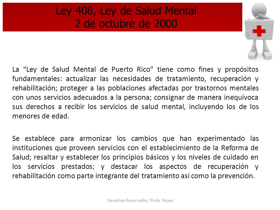 Ley 408, Ley de Salud Mental 2 de octubre de 2000
