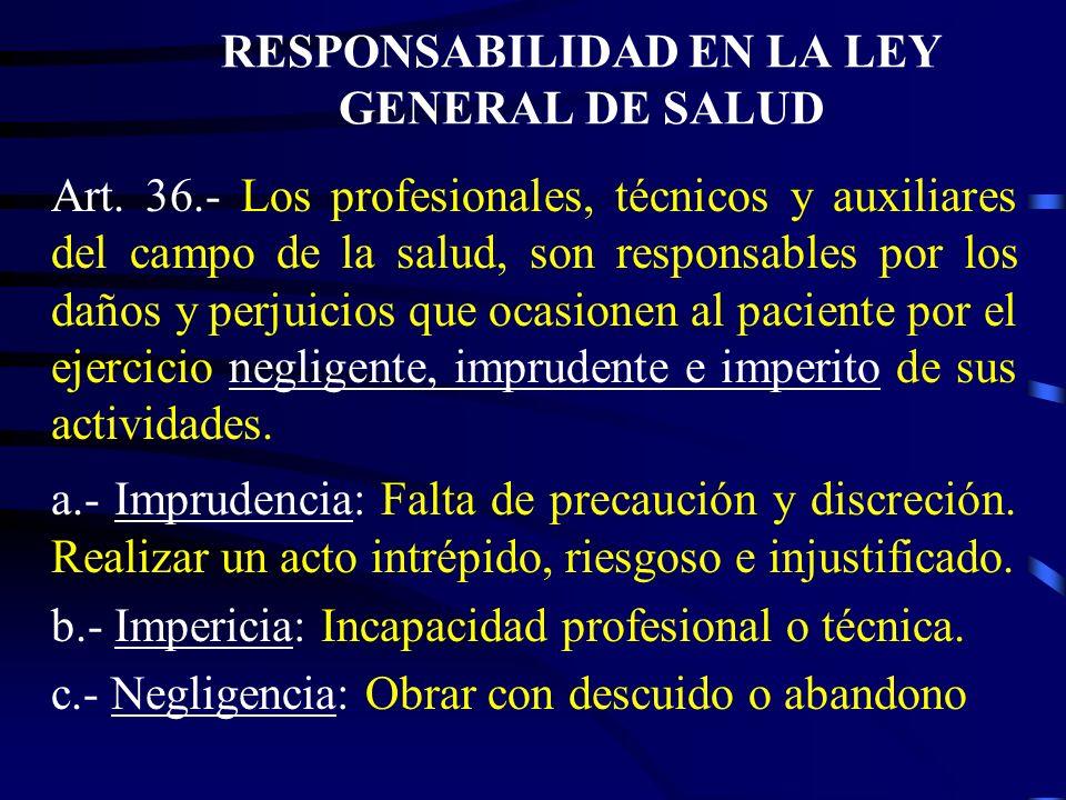 RESPONSABILIDAD EN LA LEY GENERAL DE SALUD