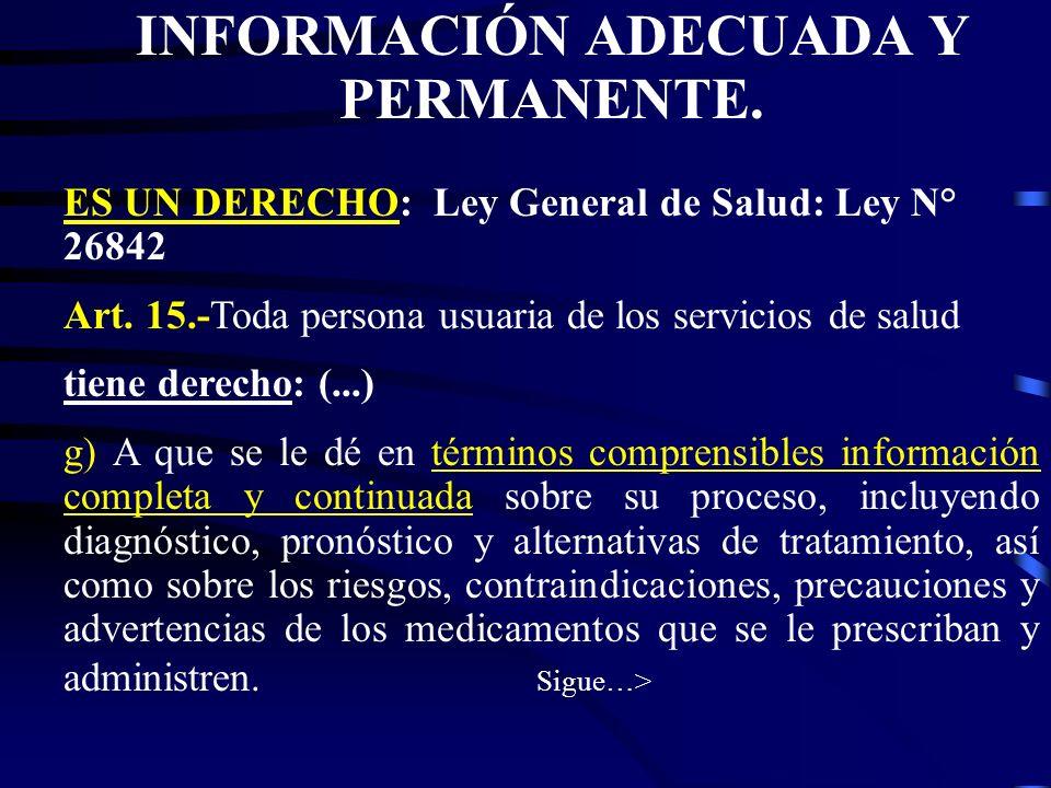INFORMACIÓN ADECUADA Y PERMANENTE.