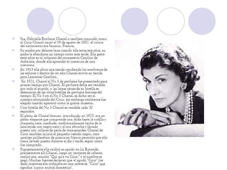 Sra. Gabrielle Bonheur Chanel o también conocido como el Coco Chanel nació el 19 de agosto de 1882. él coloca del nacimiento era Saumur, Francia.