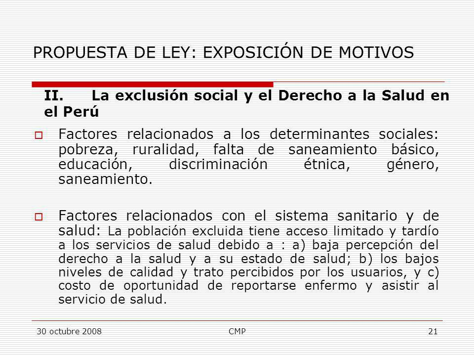 PROPUESTA DE LEY: EXPOSICIÓN DE MOTIVOS