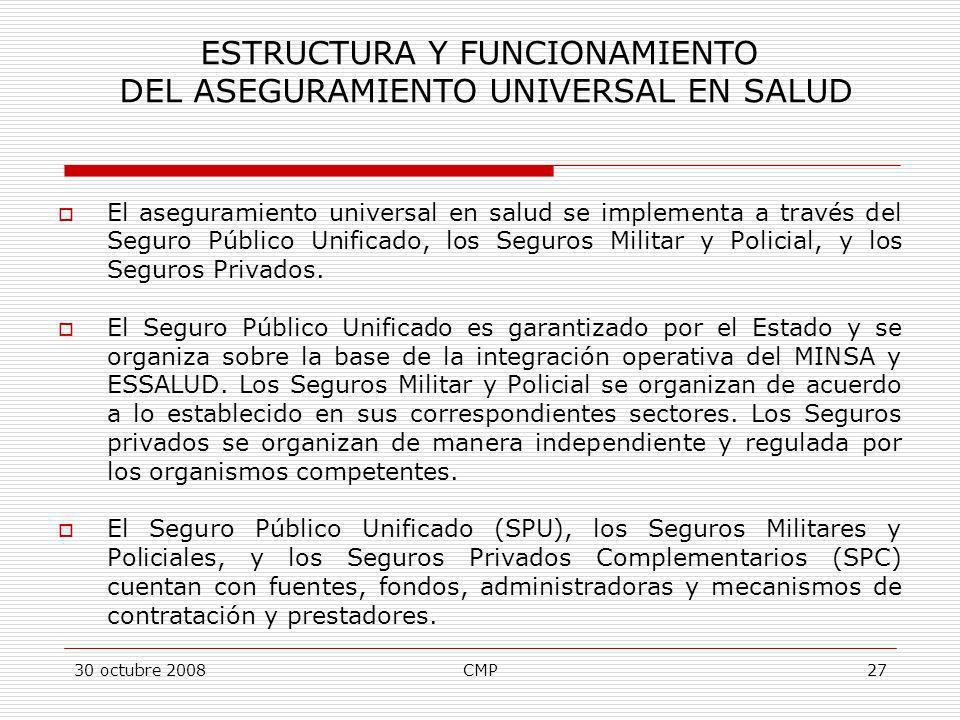ESTRUCTURA Y FUNCIONAMIENTO DEL ASEGURAMIENTO UNIVERSAL EN SALUD