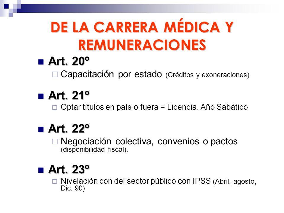 DE LA CARRERA MÉDICA Y REMUNERACIONES
