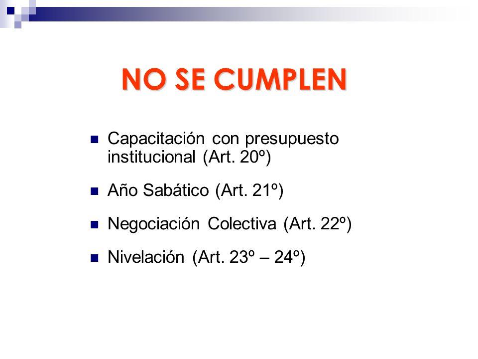NO SE CUMPLEN Capacitación con presupuesto institucional (Art. 20º)