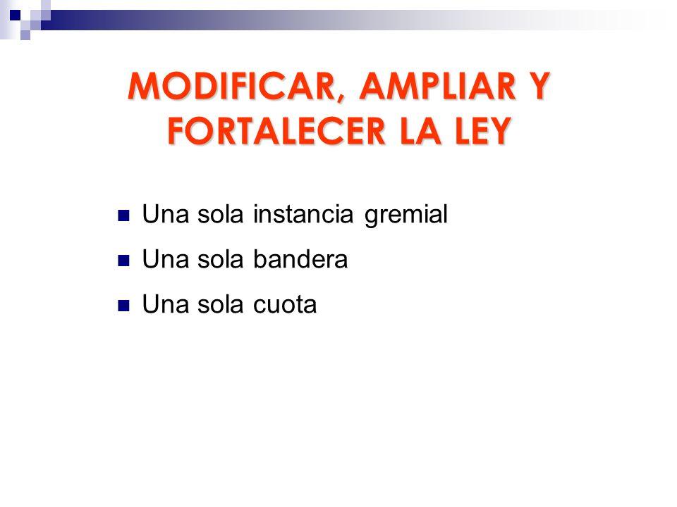 MODIFICAR, AMPLIAR Y FORTALECER LA LEY