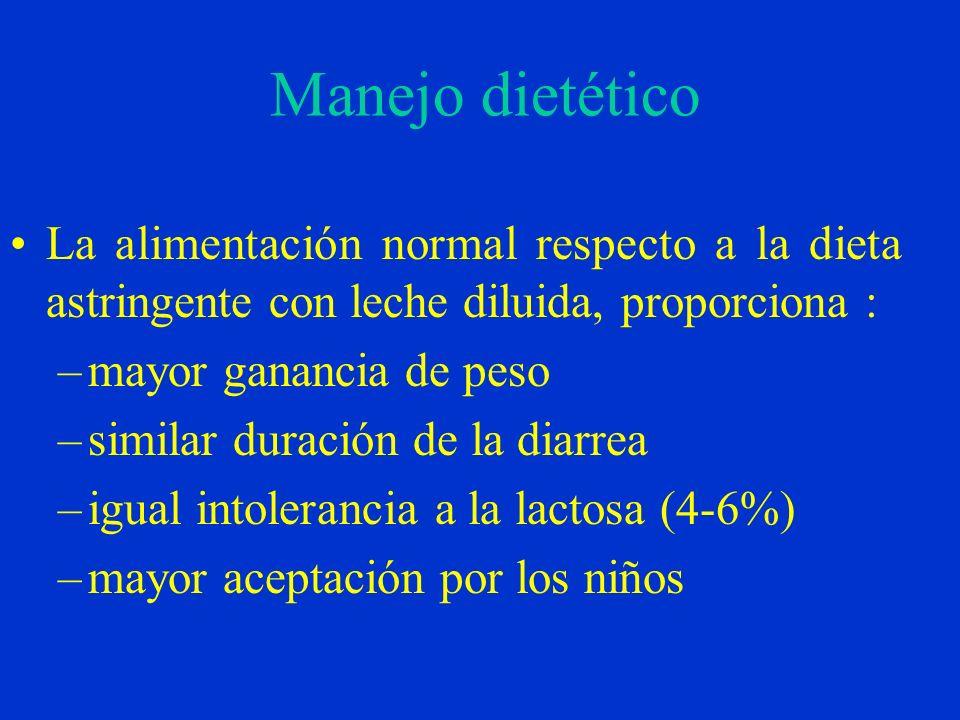 Manejo dietético La alimentación normal respecto a la dieta astringente con leche diluida, proporciona :