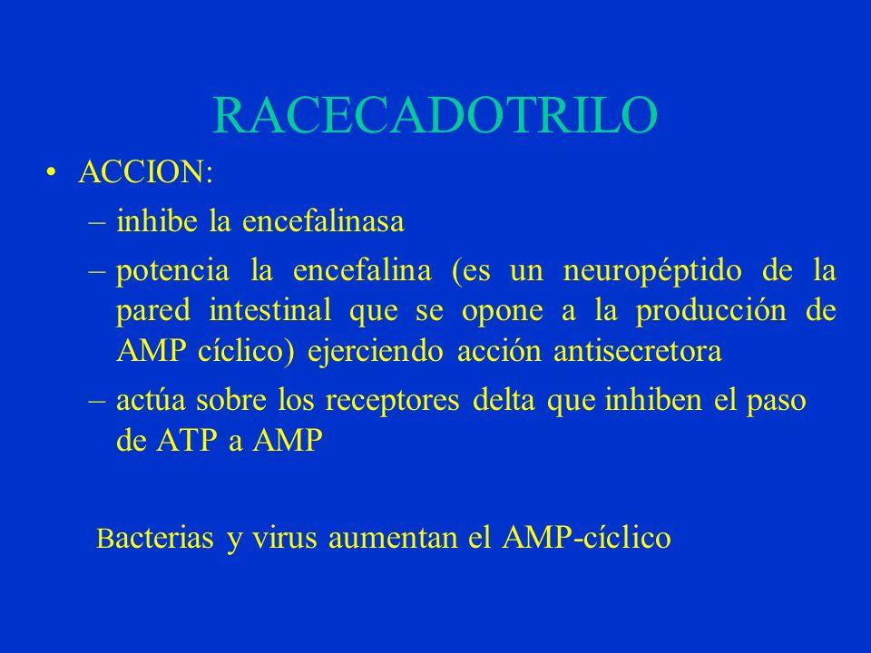 RACECADOTRILO ACCION: inhibe la encefalinasa
