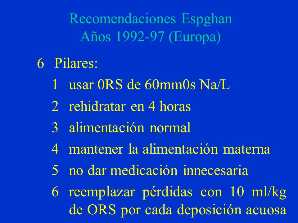 Recomendaciones Espghan Años 1992-97 (Europa)