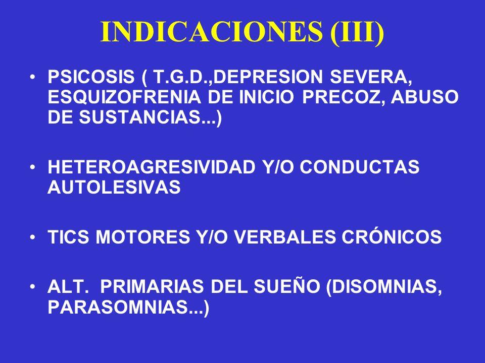 INDICACIONES (III) PSICOSIS ( T.G.D.,DEPRESION SEVERA, ESQUIZOFRENIA DE INICIO PRECOZ, ABUSO DE SUSTANCIAS...)