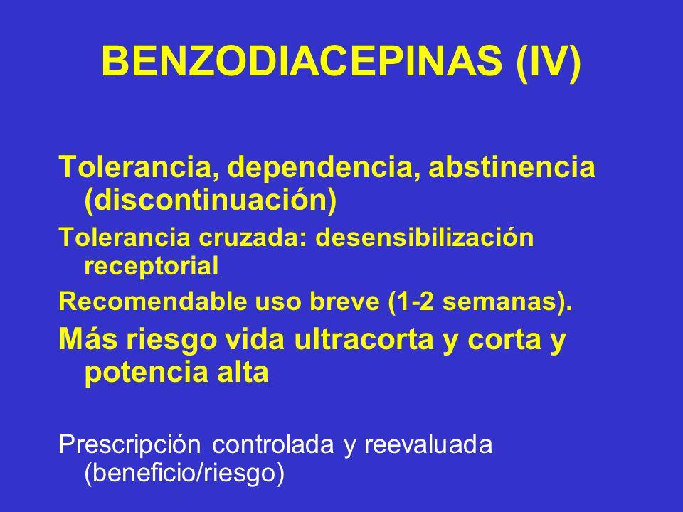 BENZODIACEPINAS (IV) Tolerancia, dependencia, abstinencia (discontinuación) Tolerancia cruzada: desensibilización receptorial