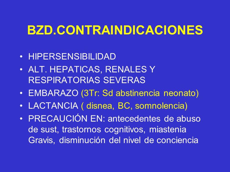 BZD.CONTRAINDICACIONES