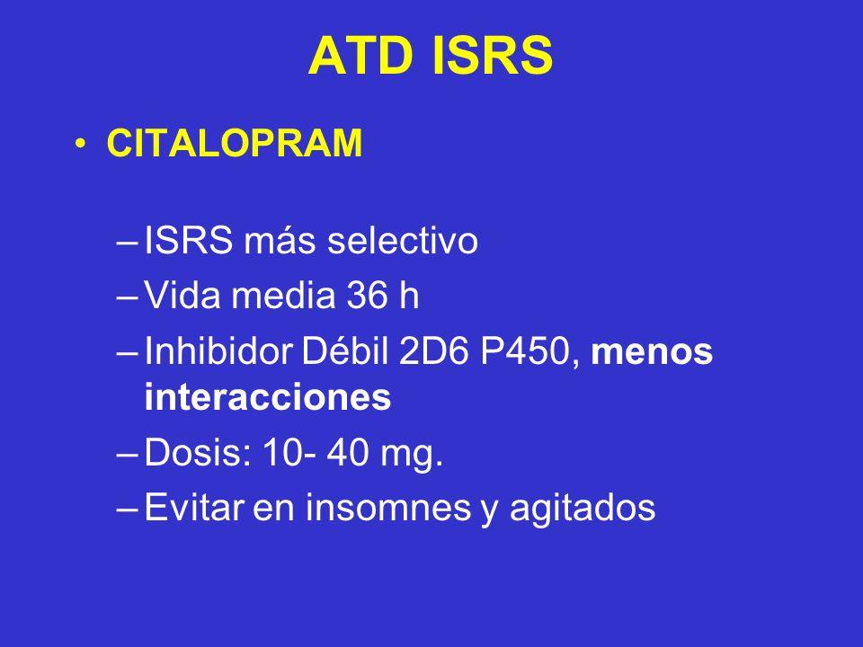 ATD ISRS CITALOPRAM ISRS más selectivo Vida media 36 h