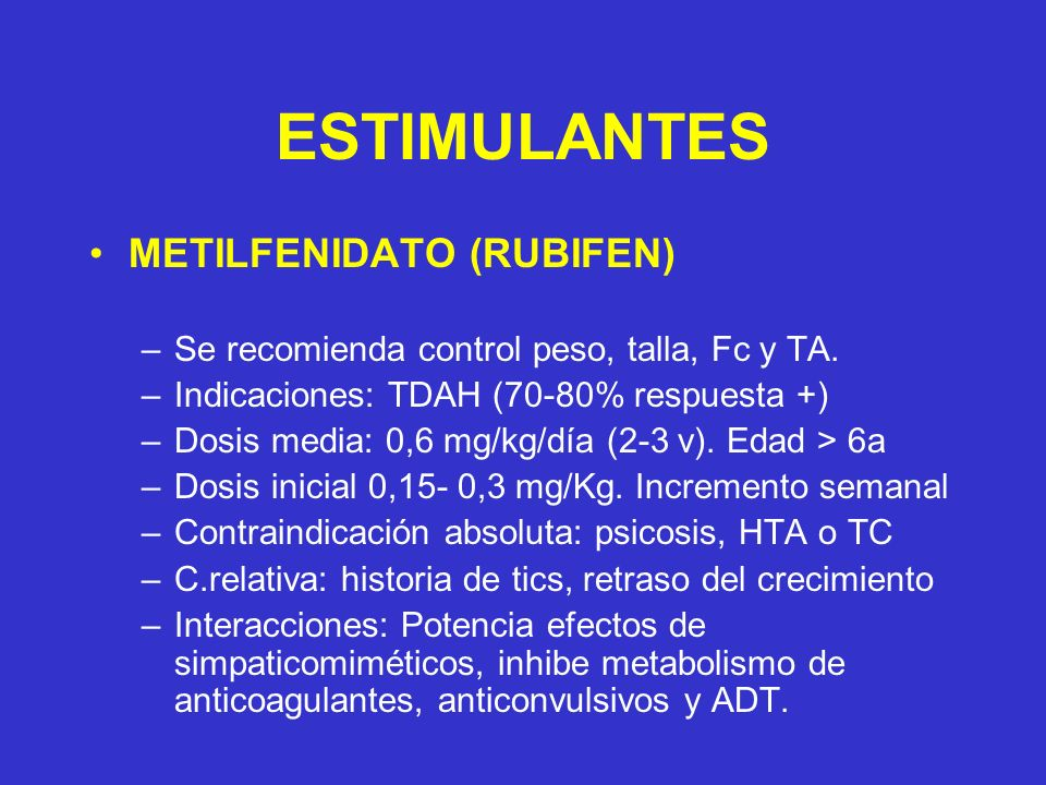 ESTIMULANTES METILFENIDATO (RUBIFEN)