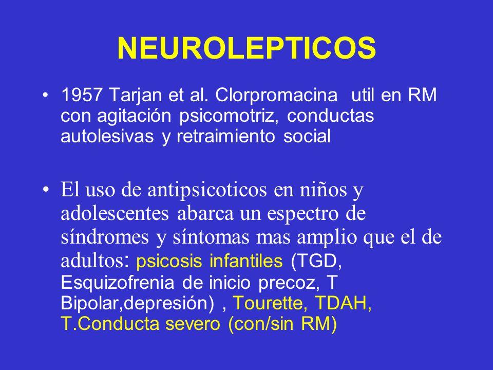 NEUROLEPTICOS 1957 Tarjan et al. Clorpromacina util en RM con agitación psicomotriz, conductas autolesivas y retraimiento social.