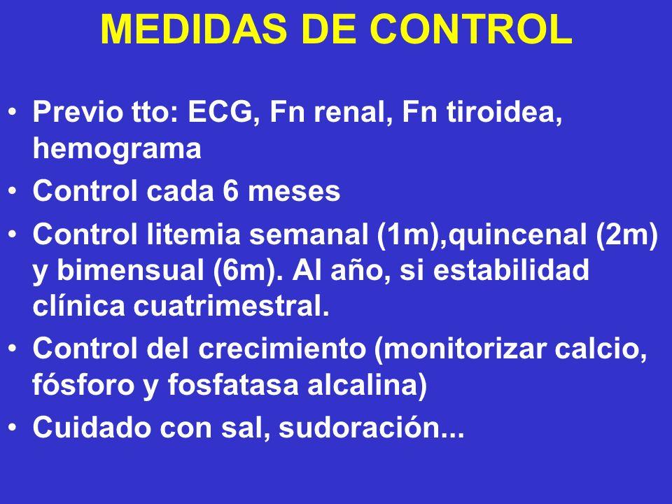 MEDIDAS DE CONTROL Previo tto: ECG, Fn renal, Fn tiroidea, hemograma
