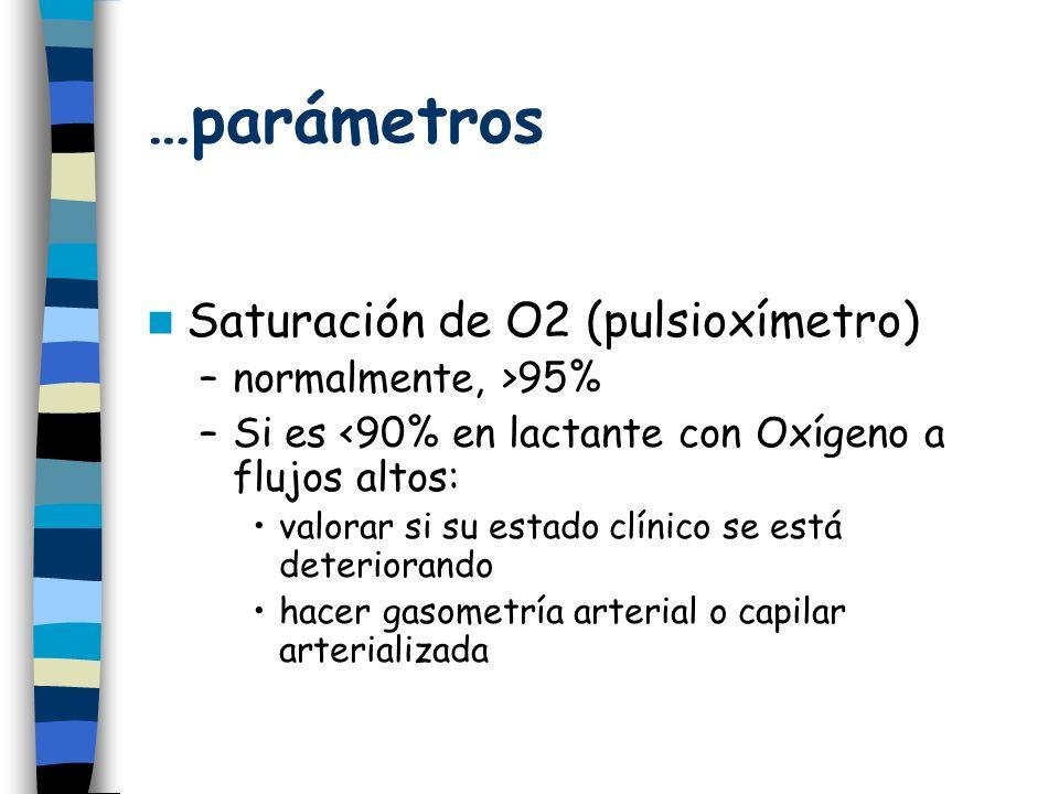 …parámetros Saturación de O2 (pulsioxímetro) normalmente, >95%