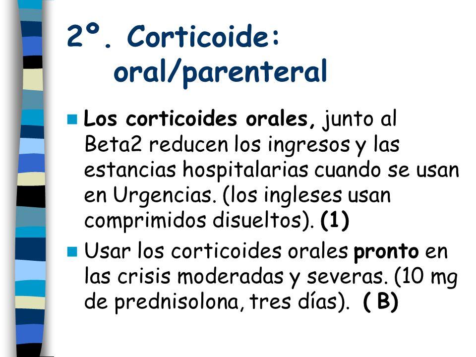 2º. Corticoide: oral/parenteral