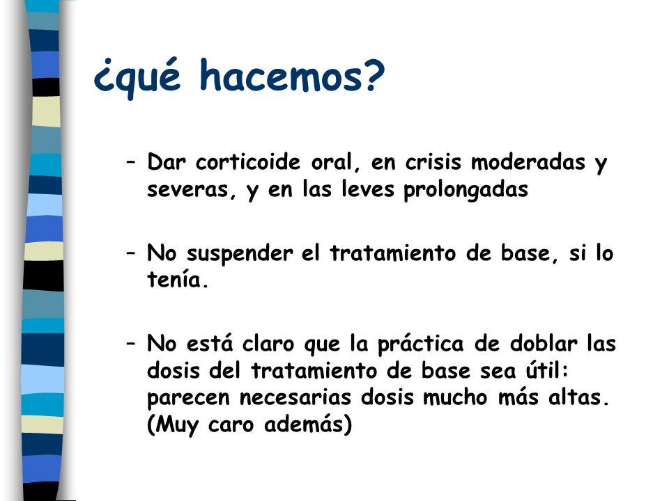 ¿qué hacemos Dar corticoide oral, en crisis moderadas y severas, y en las leves prolongadas. No suspender el tratamiento de base, si lo tenía.
