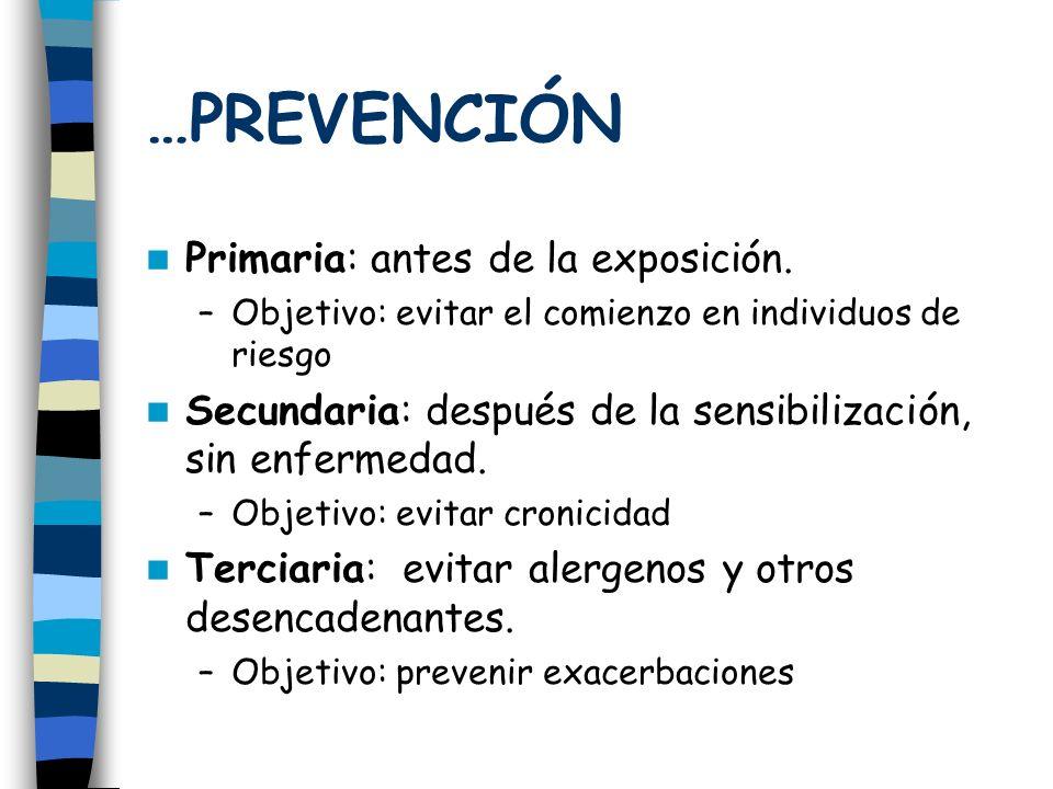 …PREVENCIÓN Primaria: antes de la exposición.