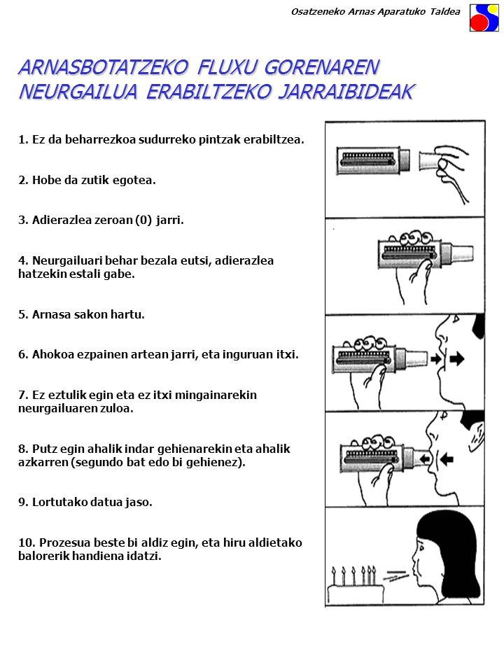 ARNASBOTATZEKO FLUXU GORENAREN NEURGAILUA ERABILTZEKO JARRAIBIDEAK