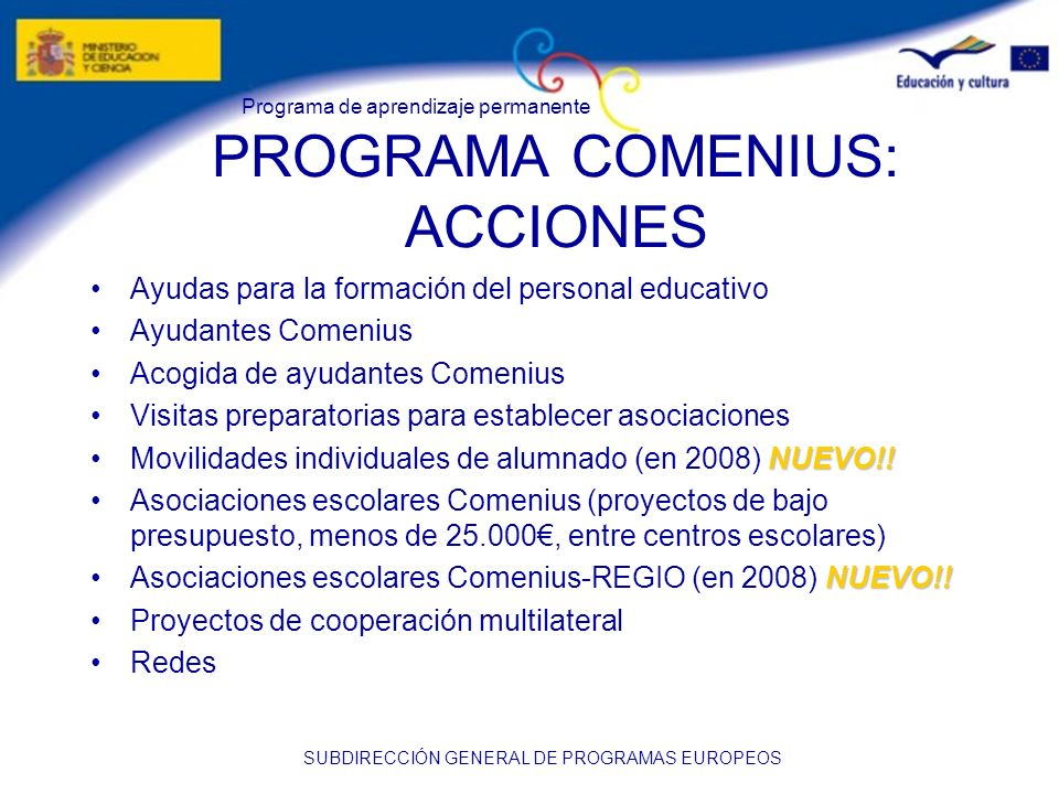 PROGRAMA COMENIUS: ACCIONES