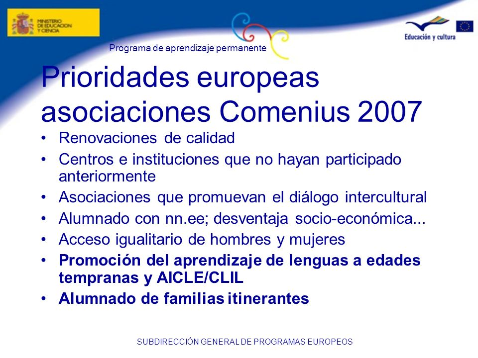 Prioridades europeas asociaciones Comenius 2007