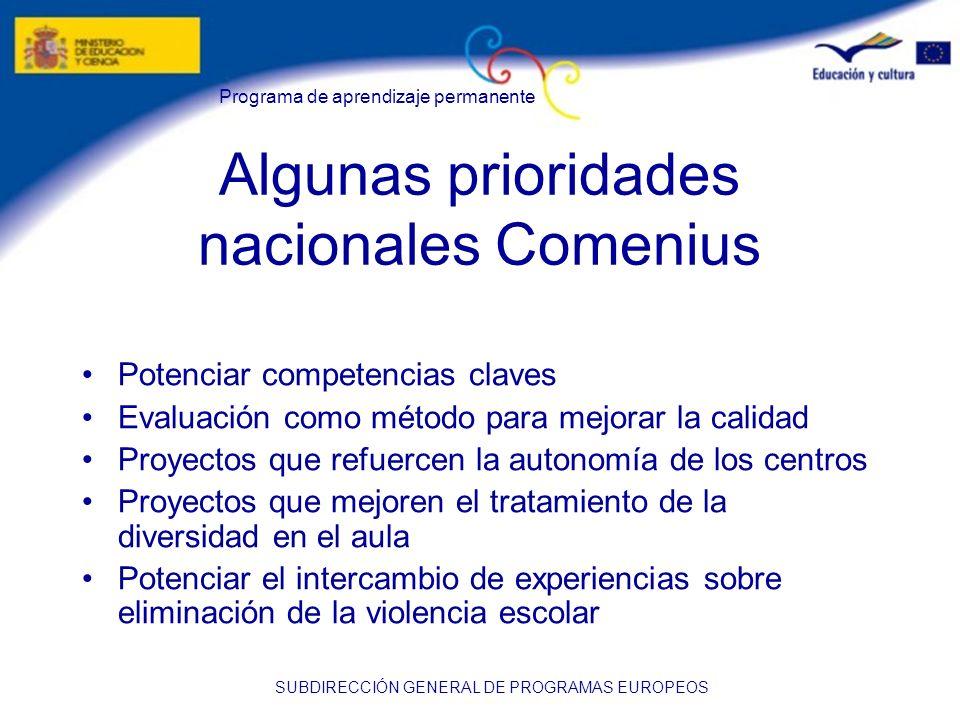 Algunas prioridades nacionales Comenius