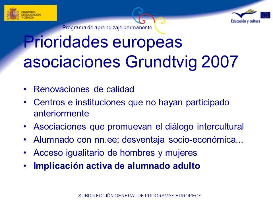 Prioridades europeas asociaciones Grundtvig 2007