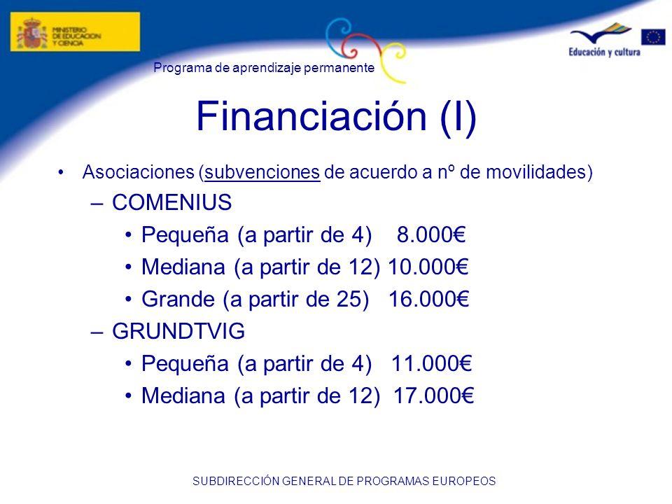 Financiación (I) COMENIUS Pequeña (a partir de 4) 8.000€
