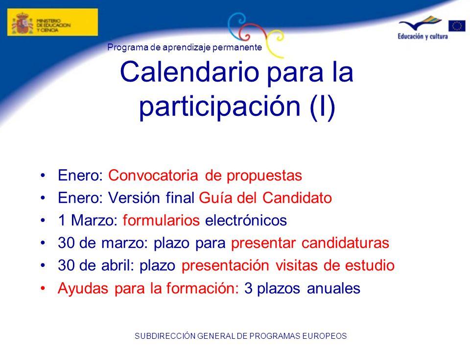 Calendario para la participación (I)