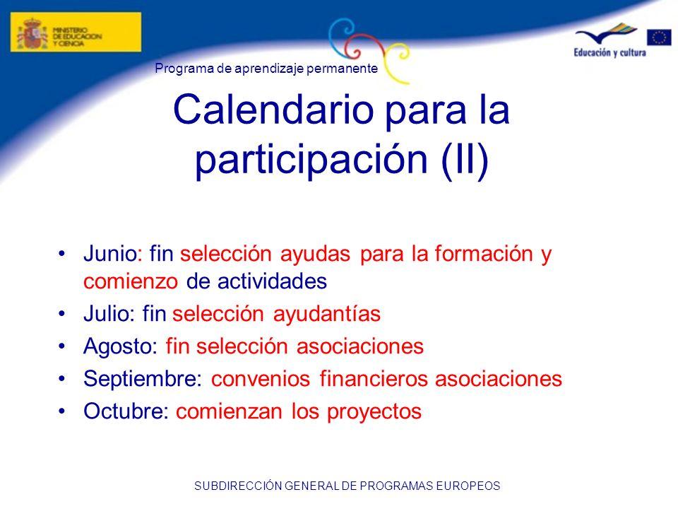 Calendario para la participación (II)
