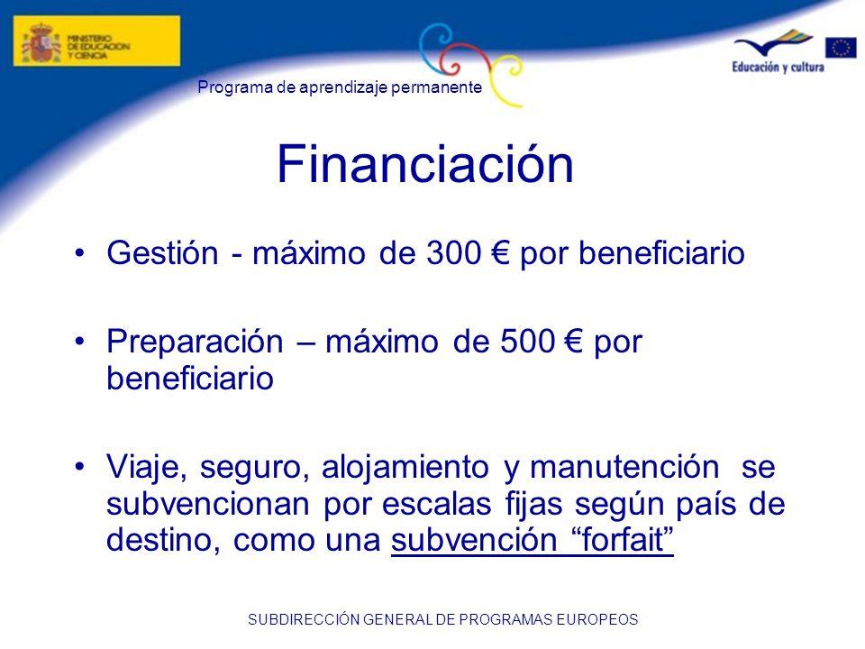 Financiación Gestión - máximo de 300 € por beneficiario