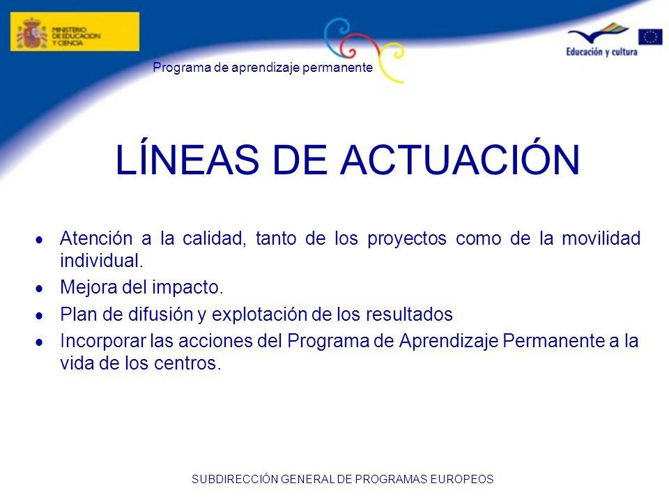 LÍNEAS DE ACTUACIÓN · Atención a la calidad, tanto de los proyectos como de la movilidad individual.