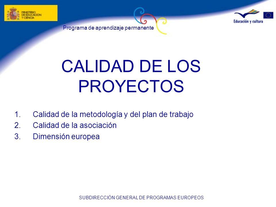 CALIDAD DE LOS PROYECTOS