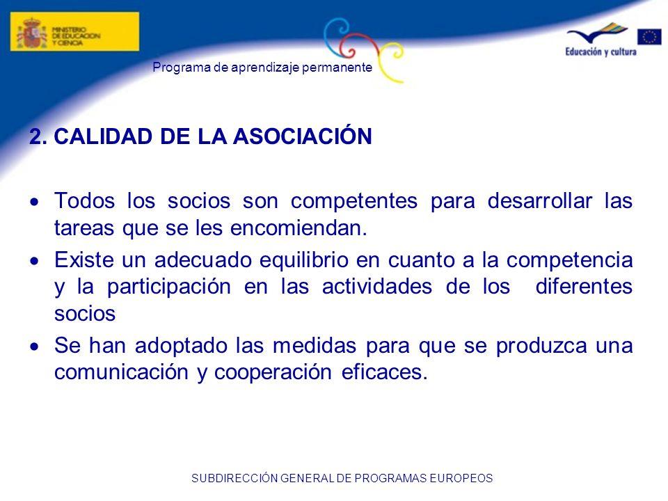 2. CALIDAD DE LA ASOCIACIÓN