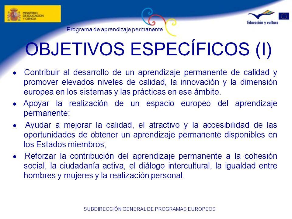 OBJETIVOS ESPECÍFICOS (I)