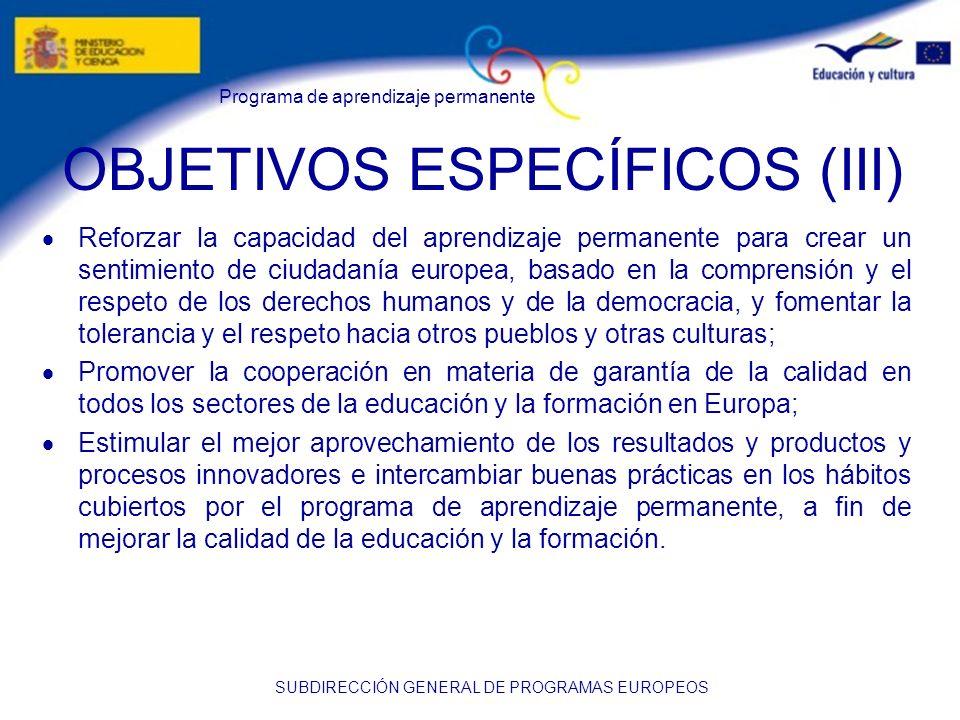 OBJETIVOS ESPECÍFICOS (III)
