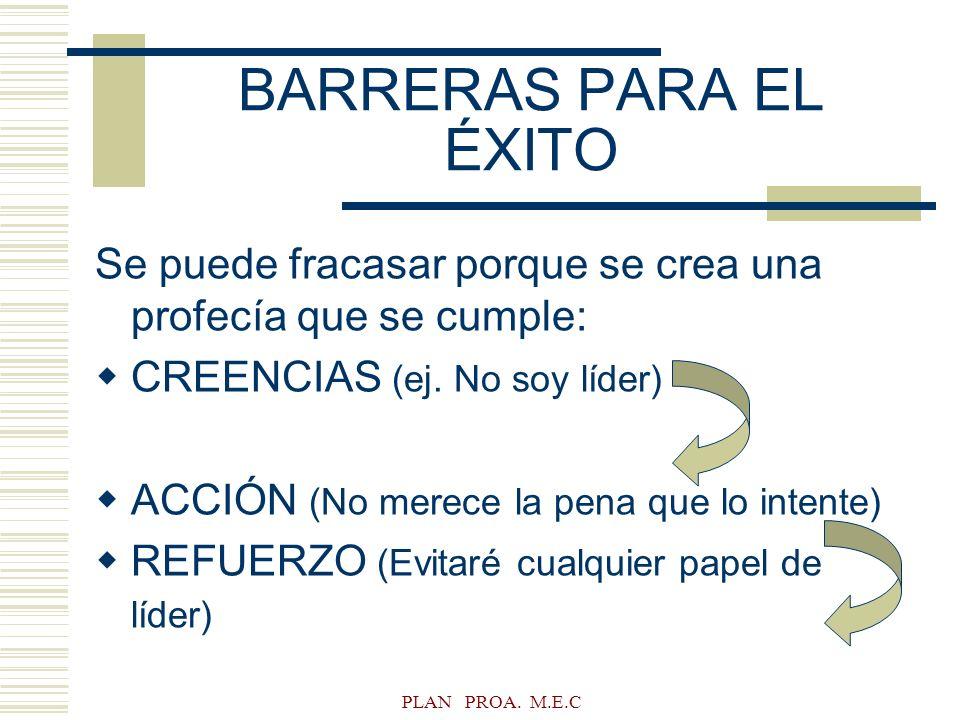 BARRERAS PARA EL ÉXITO Se puede fracasar porque se crea una profecía que se cumple: CREENCIAS (ej. No soy líder)