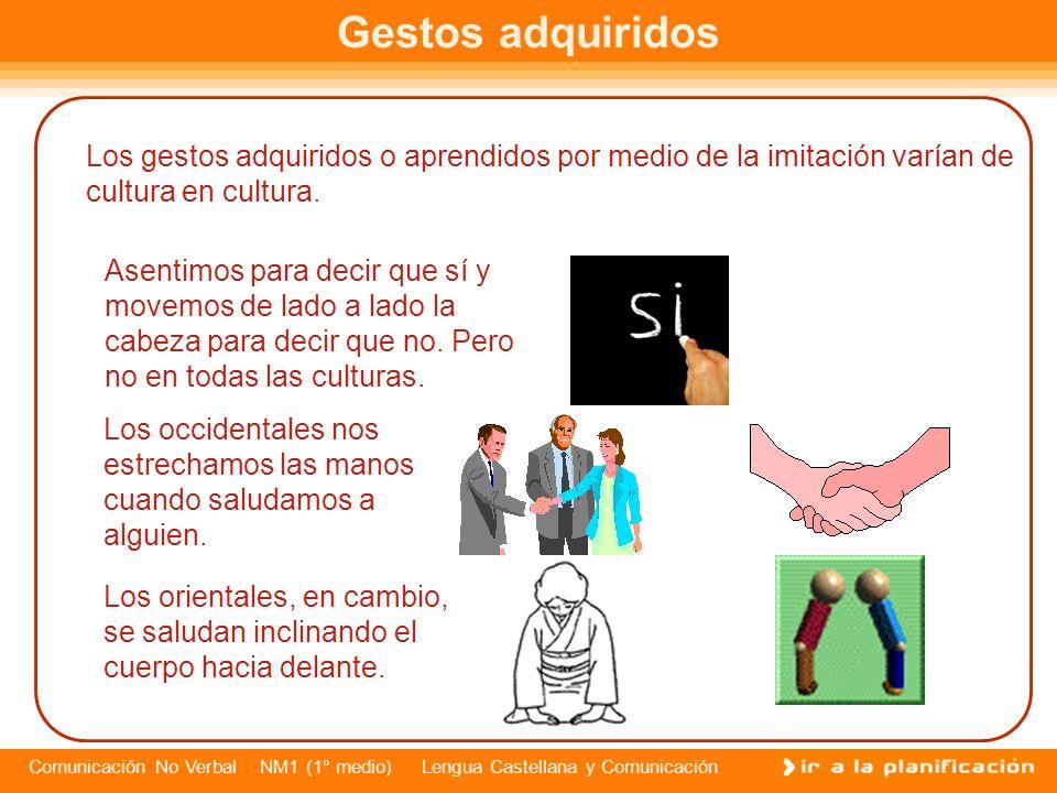 Gestos adquiridosLos gestos adquiridos o aprendidos por medio de la imitación varían de cultura en cultura.
