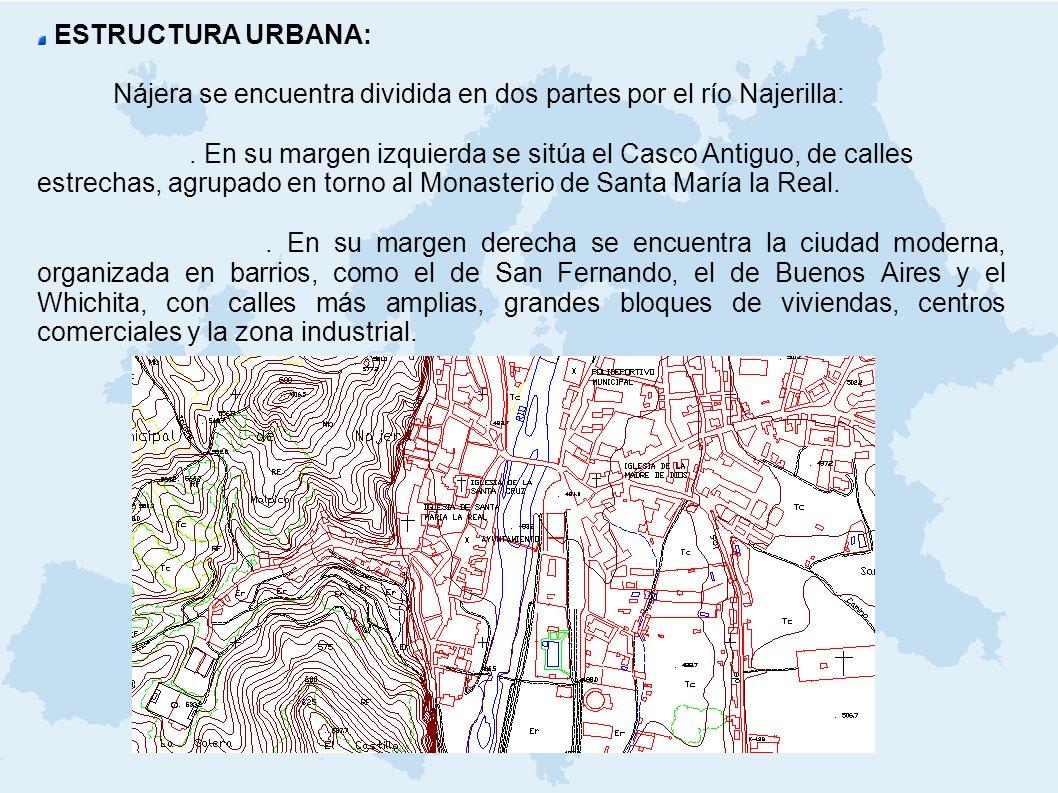 ESTRUCTURA URBANA: Nájera se encuentra dividida en dos partes por el río Najerilla: