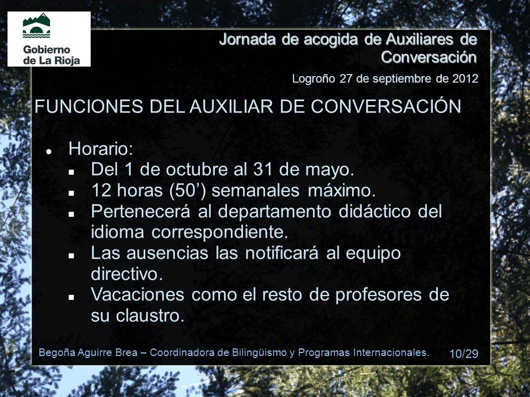 FUNCIONES DEL AUXILIAR DE CONVERSACIÓN Horario: