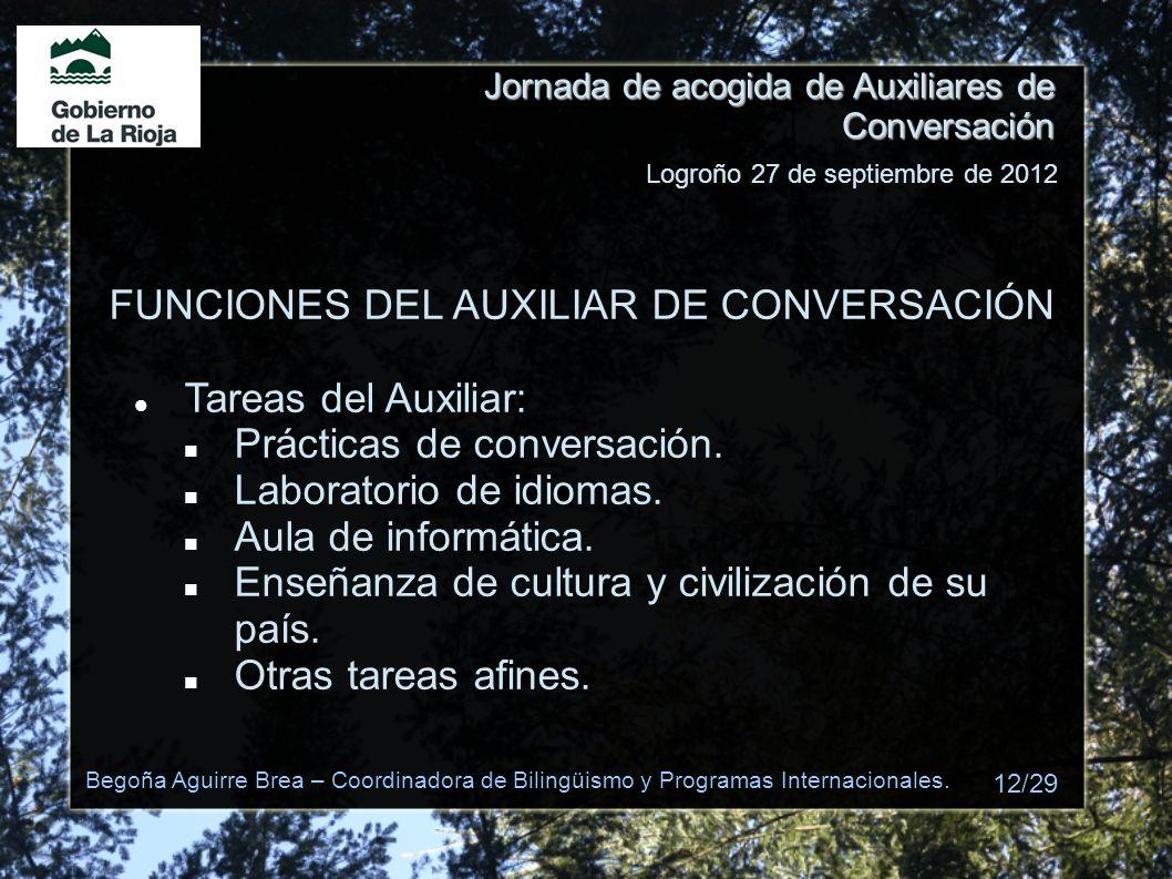 FUNCIONES DEL AUXILIAR DE CONVERSACIÓN Tareas del Auxiliar: