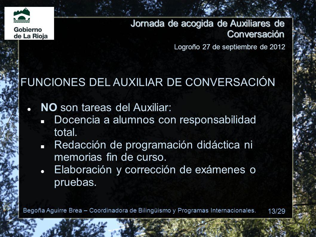 FUNCIONES DEL AUXILIAR DE CONVERSACIÓN NO son tareas del Auxiliar: