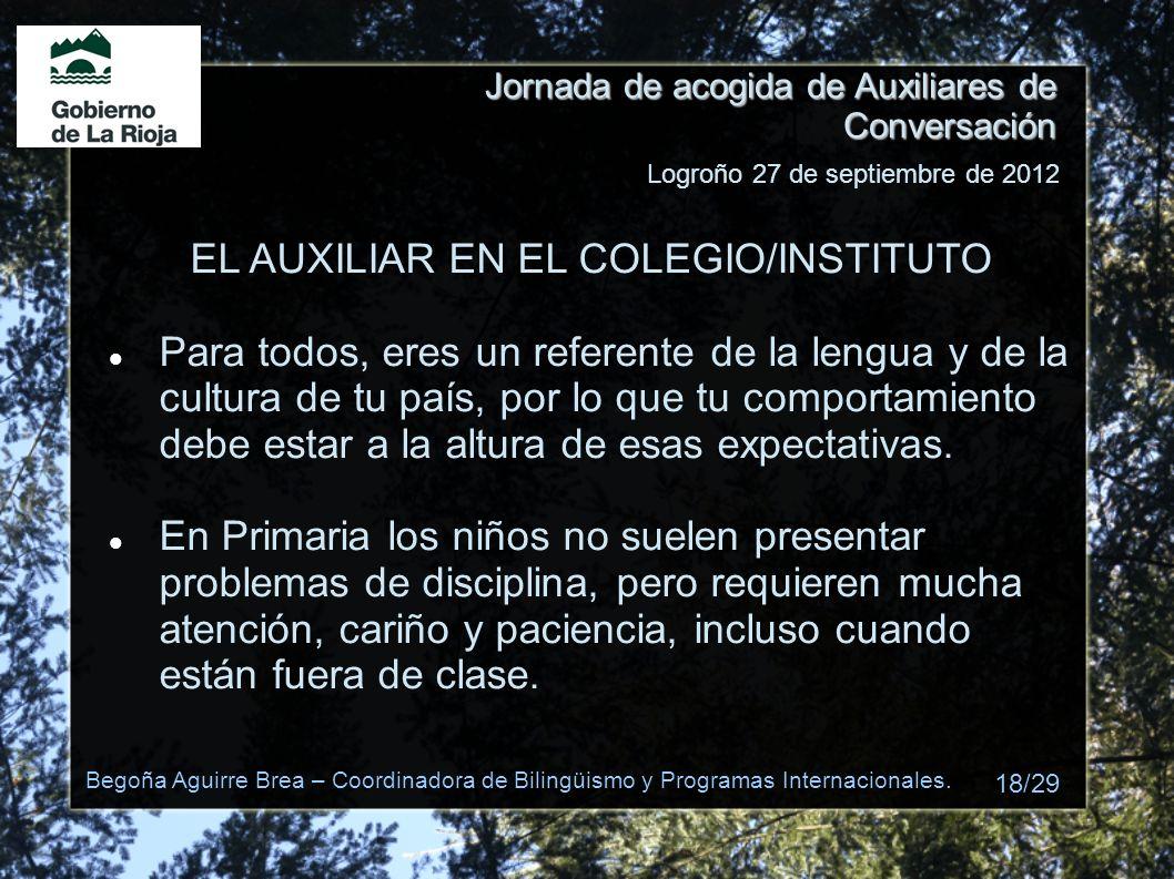 EL AUXILIAR EN EL COLEGIO/INSTITUTO
