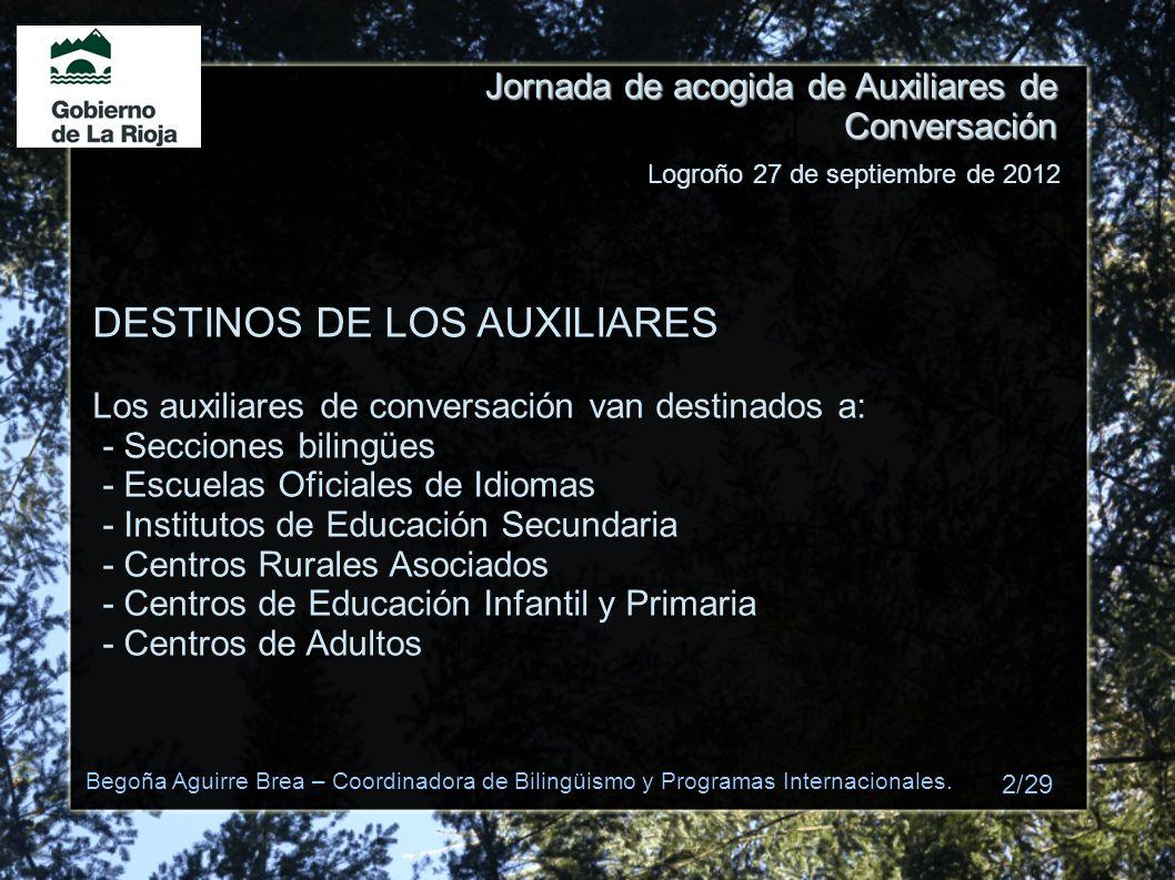 DESTINOS DE LOS AUXILIARES