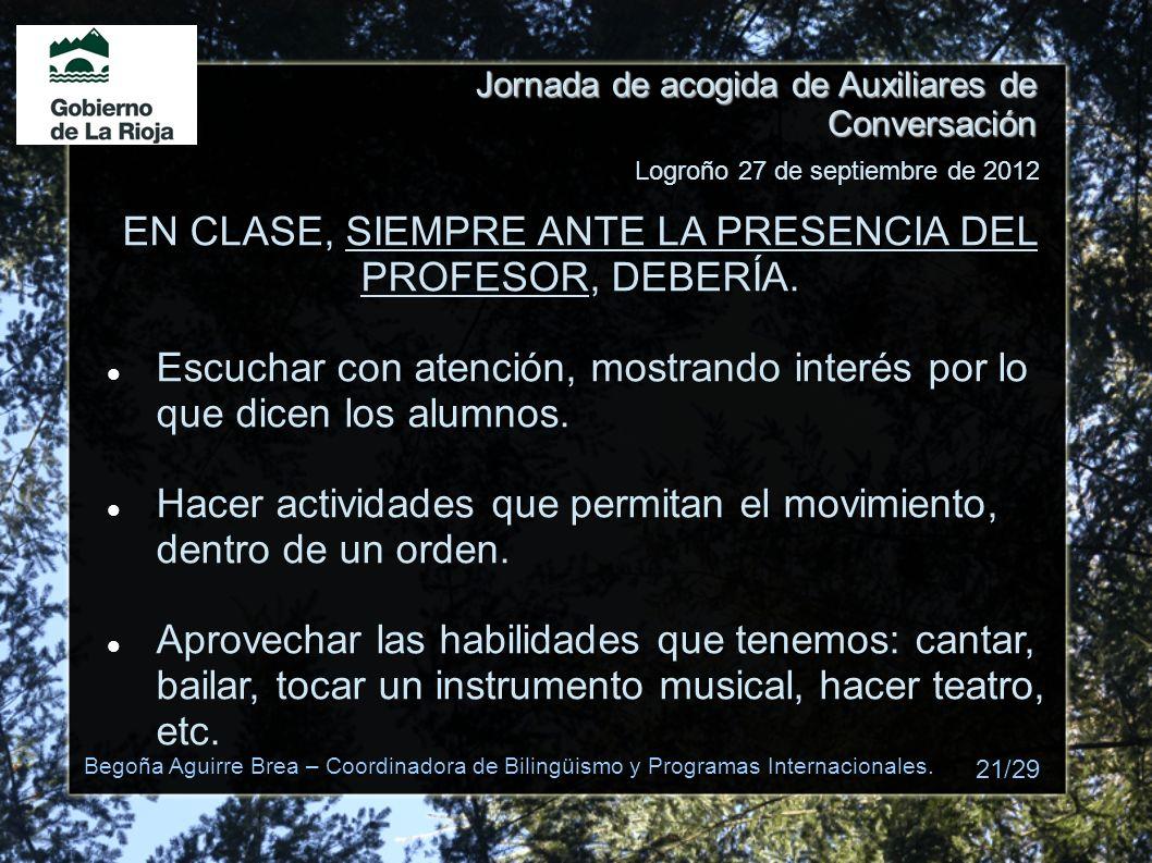 EN CLASE, SIEMPRE ANTE LA PRESENCIA DEL PROFESOR, DEBERÍA.