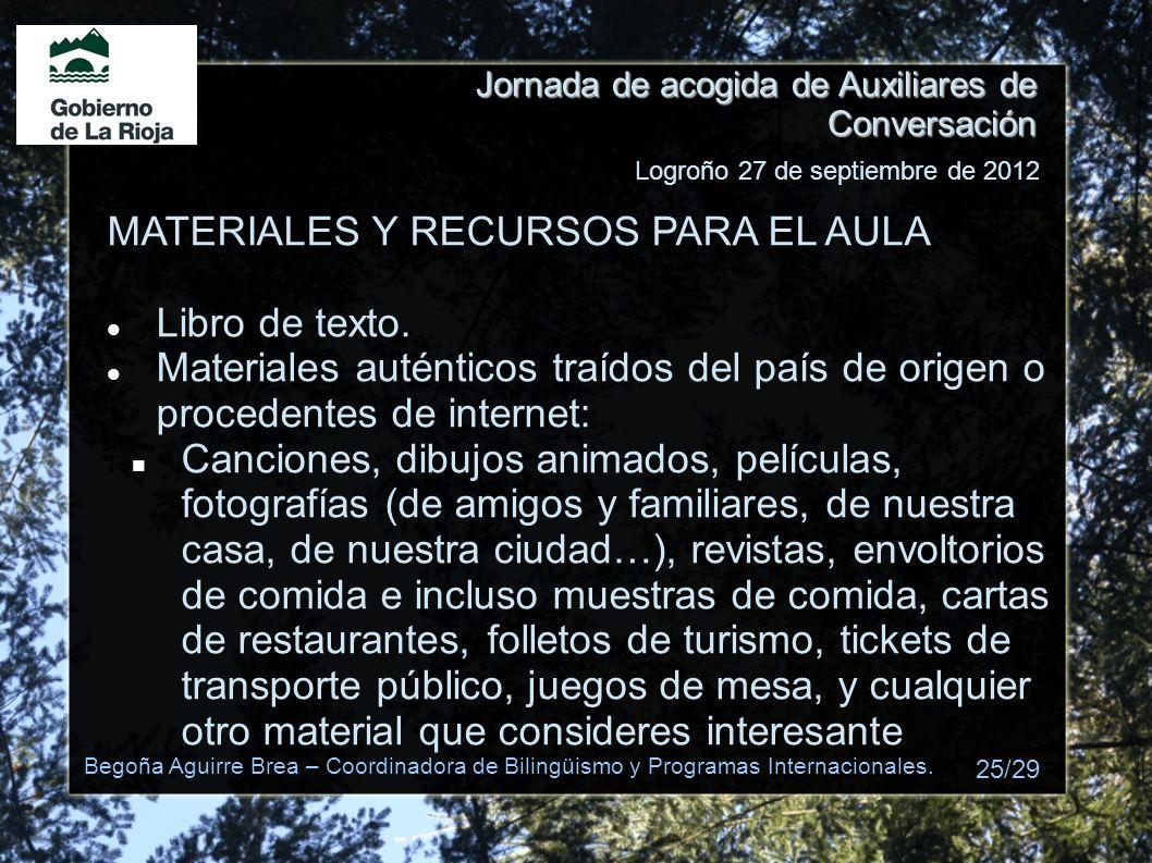 MATERIALES Y RECURSOS PARA EL AULA Libro de texto.