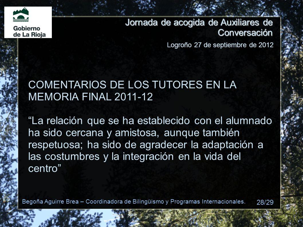COMENTARIOS DE LOS TUTORES EN LA MEMORIA FINAL 2011-12